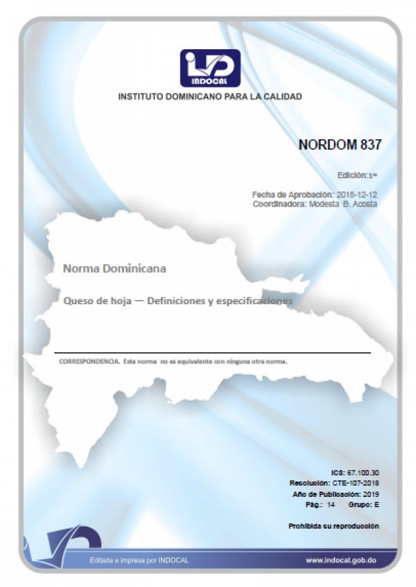 NORDOM 837- QUESO DE HOJA - DEFINICIONES Y ESPECIFICACIONES