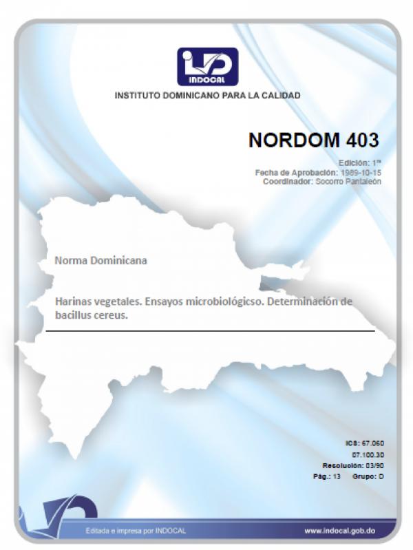 NORDOM 403 - HARINAS VEGETALES. ENSAYOS MICROBIOLOGICOS. DETERMINACION DE BACILLUS CEREUS.