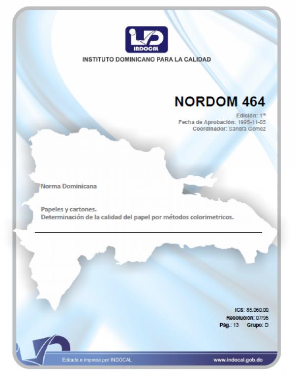 NORDOM 464- PAPELES Y CARTONES. DETERMINACION DE LA CALIDAD DEL PAPEL POR METODOS COLORIMETRICOS.