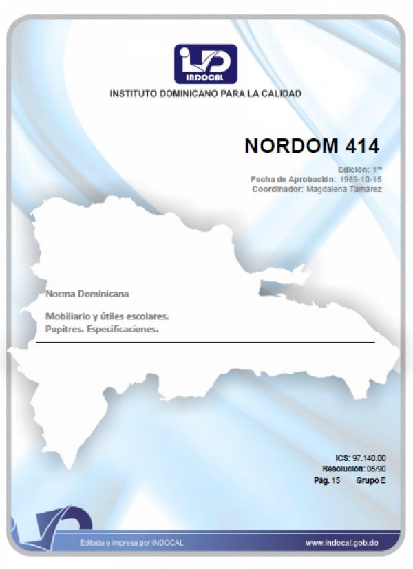 NORDOM 414 - MOBILIARIO Y UTILES ESCOLARES. PUPITRES. ESPECIFICACIONES.