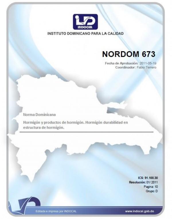 NORDOM 673 - HORMIGÓN Y PRODUCTOS DE HORMIGÓN. HORMIGÓN DURABILIDAD EN ESTRUCTURA DE HORMIGÓN.