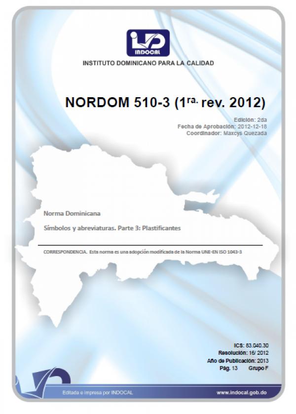 NORDOM 510-3 - SÍMBOLOS Y ABREVIATURAS. PARTE 3: PLASTIFICANTES. (1RA. REV. 2012)