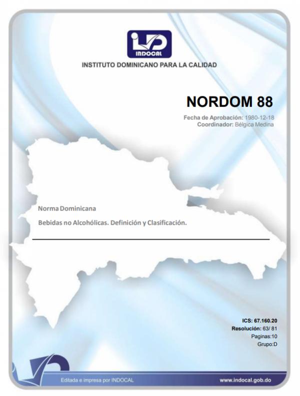 NORDOM 88 - BEBIDAS NO ALCOHÓLICAS. DEFINICIÓN Y CLASIFICACIÓN.