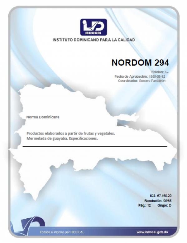 NORDOM 294 - PRODUCTOS ELABORADOS A PARTIR DE FRUTAS Y VEGETALES. MERMELADA DE GUAYABA. ESPECIFICACIONES.