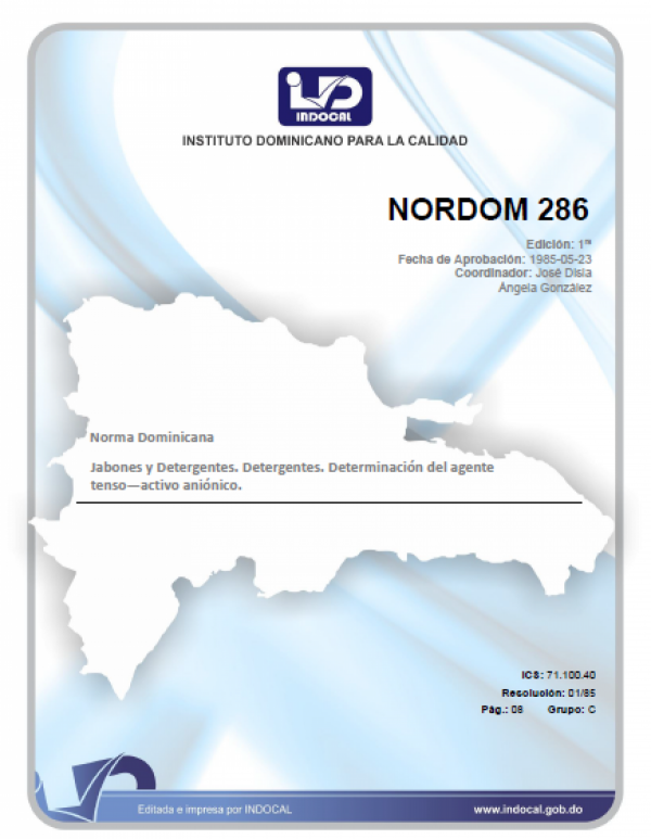 NORDOM 286 - JABONES Y DETERGENTES. DETERGENTES. DETERMINACION DEL AGENTE TENSO-ACTIVO ANIONICO.