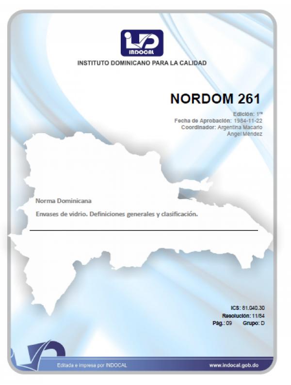 NORDOM 261- ENVASES DE VIDRIO. DEFINICIONES GENERALES Y CLASIFICACIÓN.