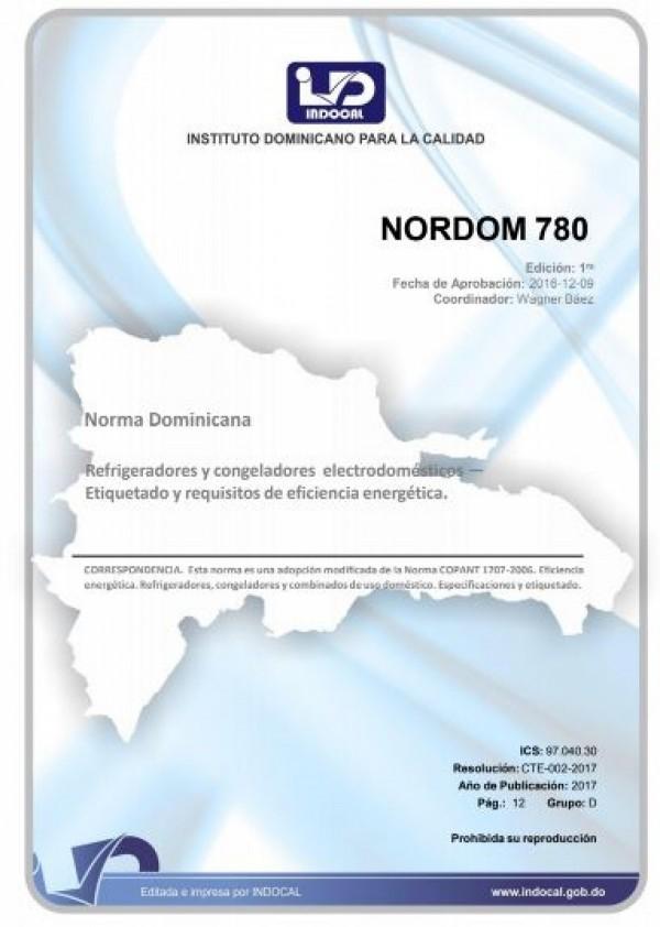 NORDOM 780 - REFRIGERADORES Y CONGELADORES ELECTRODOMESTICOS — ETIQUETADO Y REQUISITOS DE EFICIENCIA ENERGÉTICA.