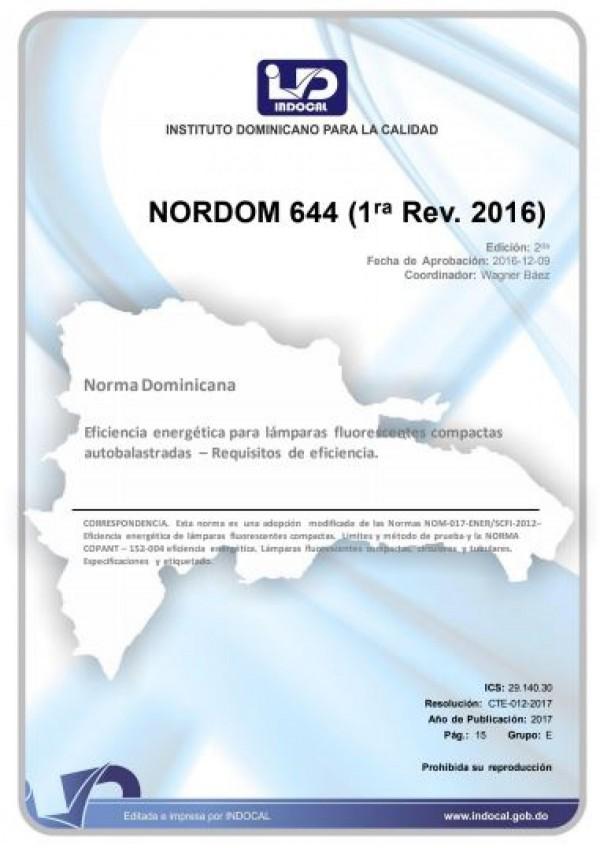 NORDOM 644 - EFICIENCIA ENERGÉTICA PARA LÁMPARAS FLUORESCENTES COMPACTAS AUTOBALASTRADAS – REQUISITOS DE EFICIENCIA. (1RA. REV. 2016)