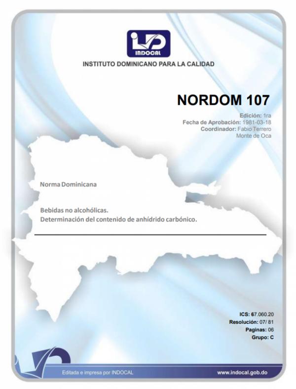 NORDOM 107 - BEBIDAS NO ALCOHÓLICAS. DETERMINACIÓN DEL CONTENIDO DE ANHÍDRIDO CARBÓNICO.