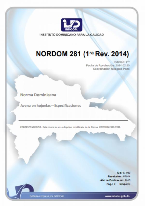 NORDOM 281 -  AVENA EN HOJUELAS. ESPECIFICACIONES. (1ra Rev. 2014)