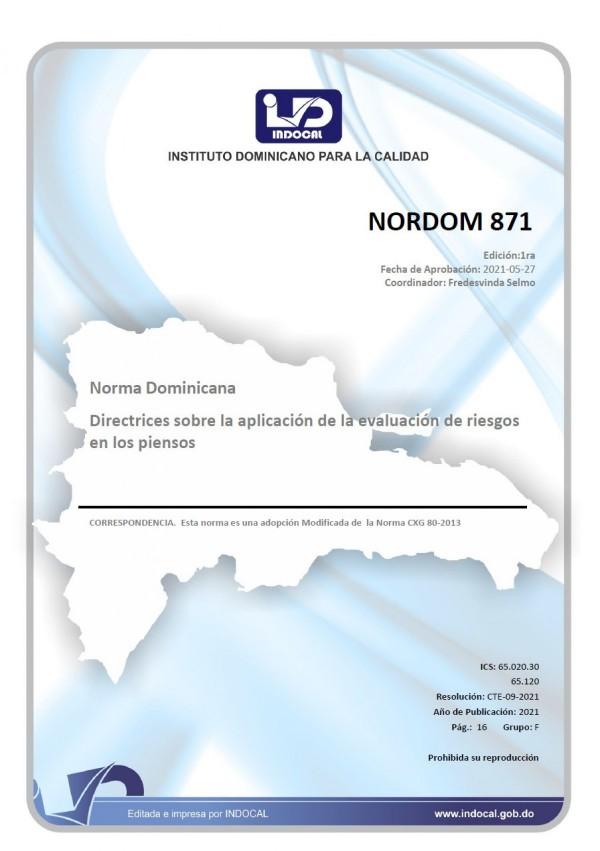 NORDOM 871 - DIRECTRICES SOBRE LA APLICACIÓN DE LA EVALUACIÓN DE RIESGOS EN LOS PIENSOS.