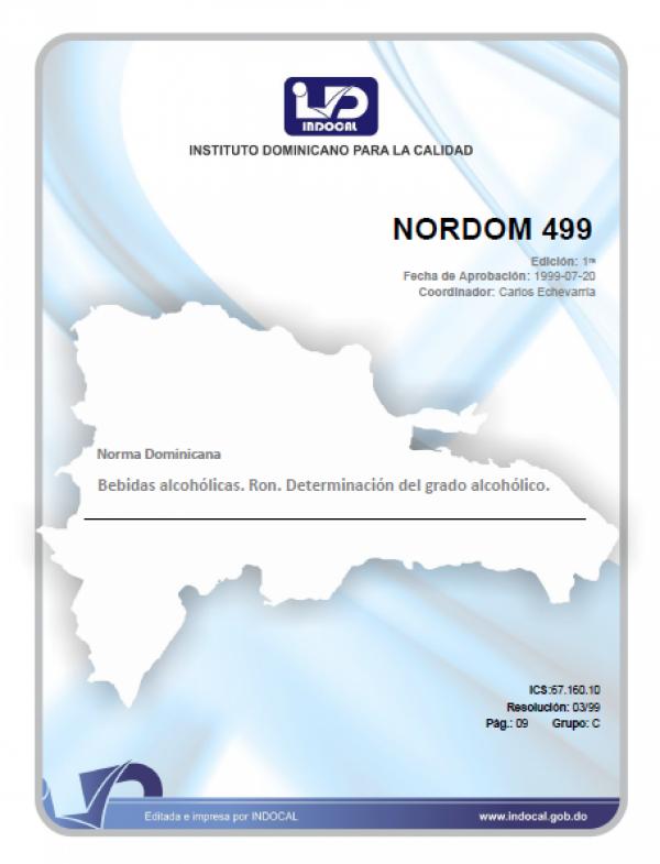 NORDOM 499 - BEBIDAS ALCOHOLICAS. RON. DETERMINACION DE GRADO ALCOHOLICO.
