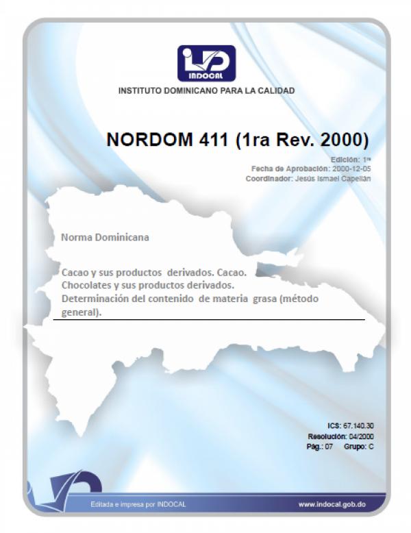NORDOM 411 - CACAO Y SUS PRODUCTOS DERIVADOS DEL CACAO, CHOCOLATES Y SUS PRODUCTOS DERIVADOS, DETERMINACIÓN DEL CONTENIDO DE MATERIA GRASA (MÉTODO GENERAL).