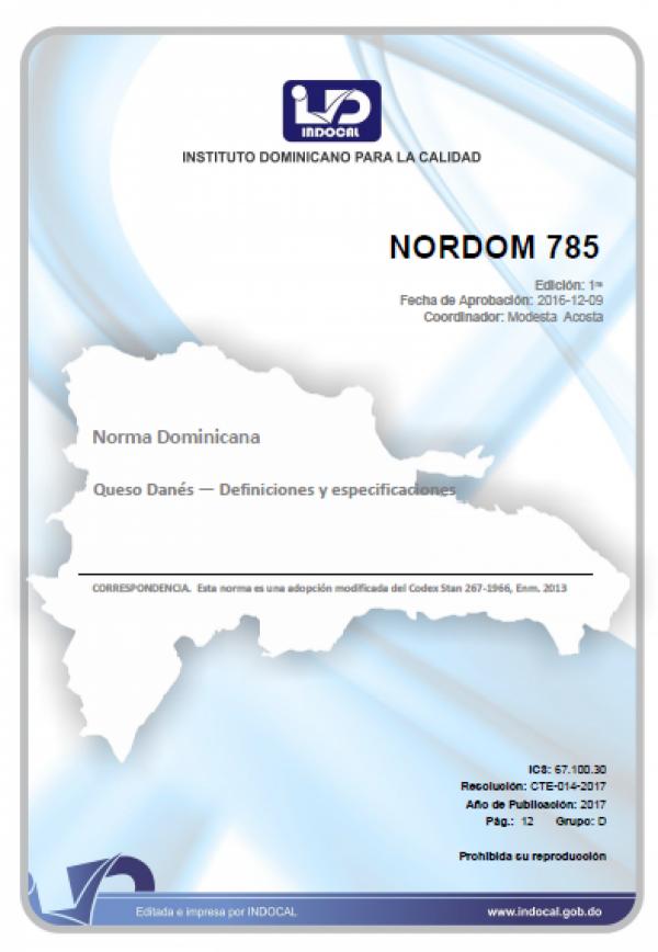 NORDOM 785- QUESO DANES - DEFINICIONES Y ESPECIFICACIONES