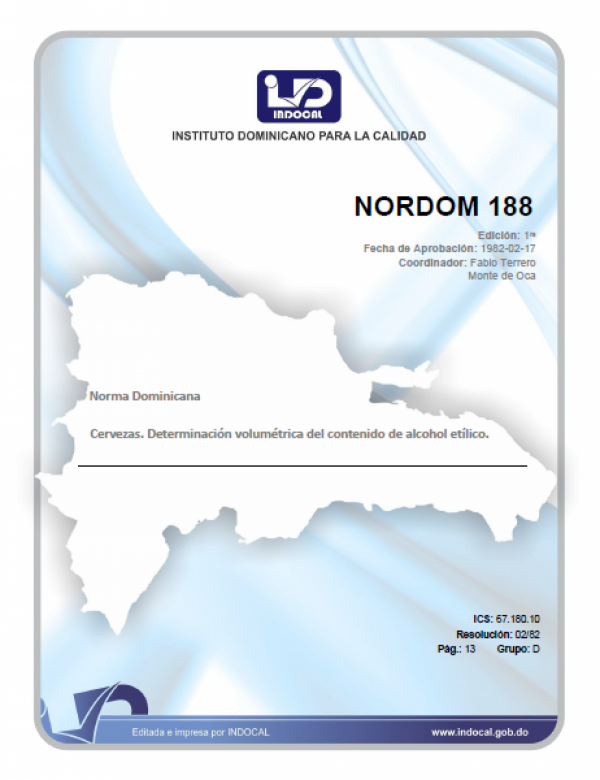 NORDOM 188 - CERVEZAS. DETERMINACION VOLUMETRICA DEL CONTENIDO DE ALCOHOL ETILICO.