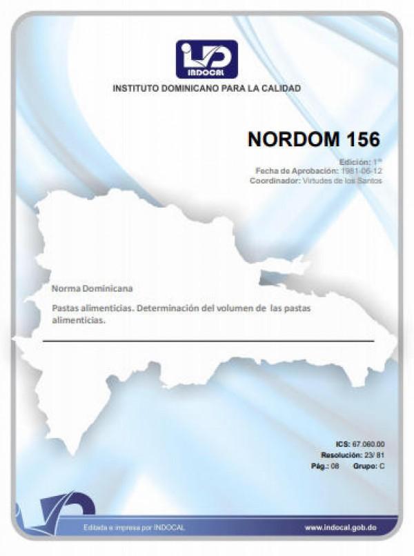 NORDOM 156 - PASTAS ALIMENTICIAS. DETERMINACIÓN DEL VOLUMEN DE LAS PASTAS ALIMENTICIAS.