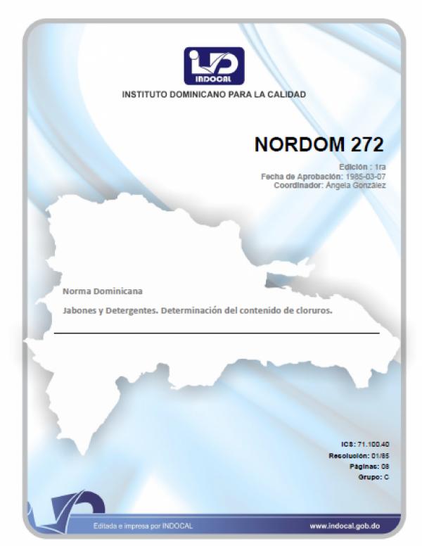 NORDOM 272 - JABONES Y DETERGENTES.  DETERMINACION DEL CONTENIDO DE CLORUROS.