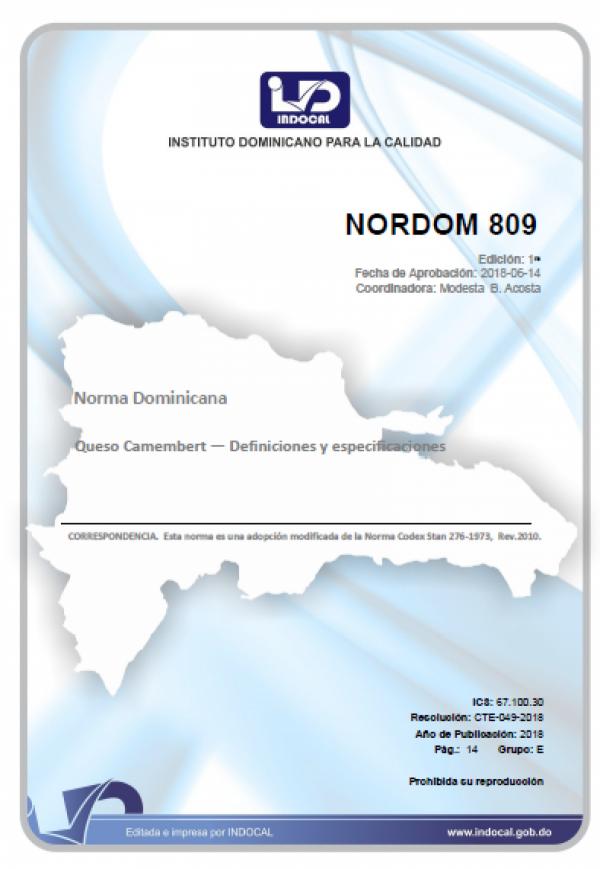NORDOM 809- QUESO CAMEMBERT - DEFINICIONES Y ESPECIFICACIONES