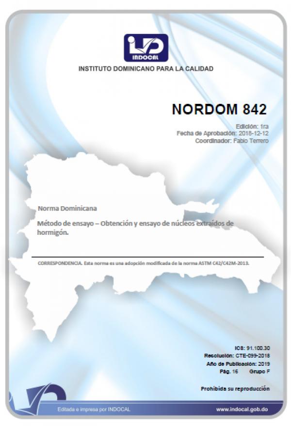 NORDOM - 842 METODO DE ENSAYO – OBTENCION Y ENSAYO DE NUCLEOS EXTRAIDOS DE HORMIGON.