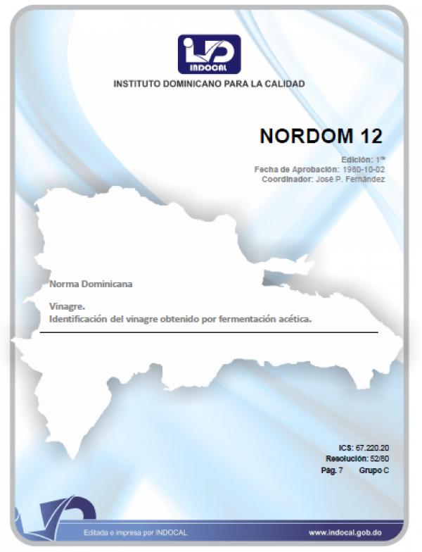 NORDOM 12 - VINAGRE. IDENTIFICACION DEL VINAGRE OBTENIDO POR FERMENTACION ACETICA
