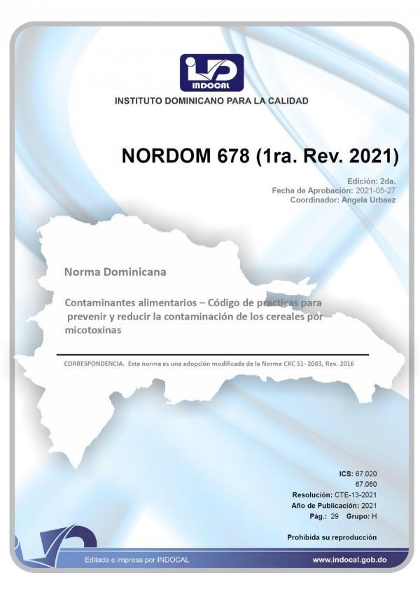 NORDOM 678- CONTAMINANTES ALIMENTARIOS. CÓDIGO DE PRÁCTICAS PARA PREVENIR Y REDUCIR LA CONTAMINACIÓN DE LOS CEREALES POR MICOTOXINAS. (1RA. REV. 2021)