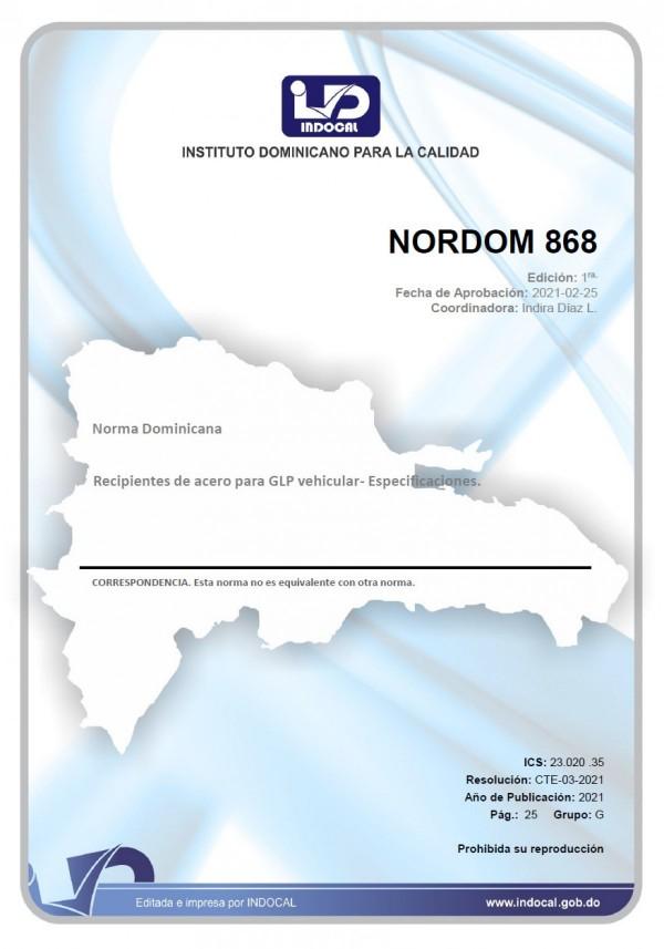 NORDOM 868 - RECIPIENTES DE ACERO PARA GLP VEHICULAR - ESPECIFICACIONES.