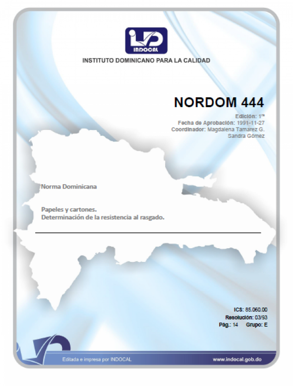 NORDOM 444 - PAPELES Y CARTONES. DETERMINACION DE LA RESISTENCIA AL RASGADO.