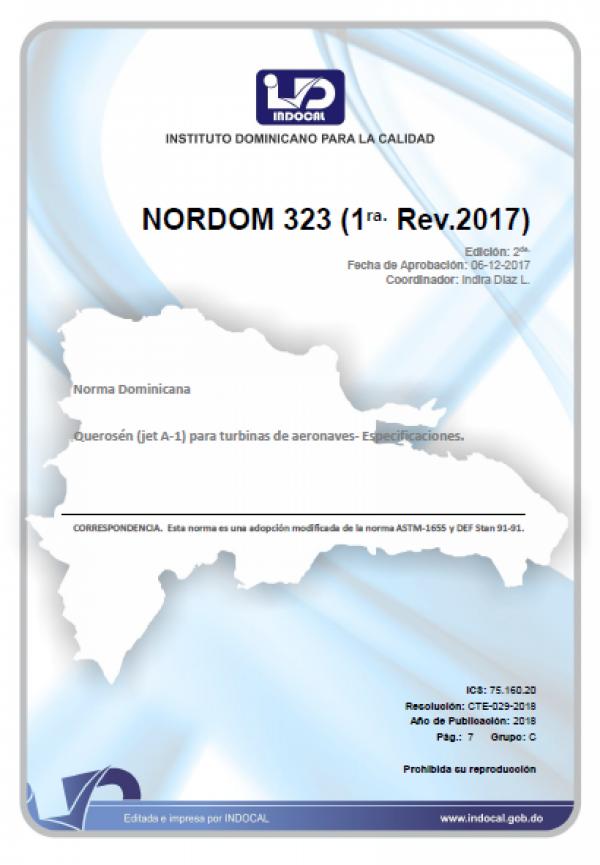 NORDOM 323 - QUEROSÉN (JET A-1) PARA TURBINAS DE AERONAVES- ESPECIFICACIONES. (1RA. REV. 2017)