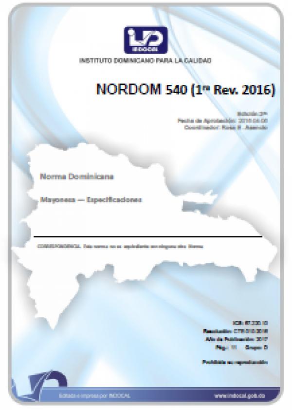 NORDOM 540 - MAYONESA. ESPECIFICACIONES. (1RA. REV. 2016)