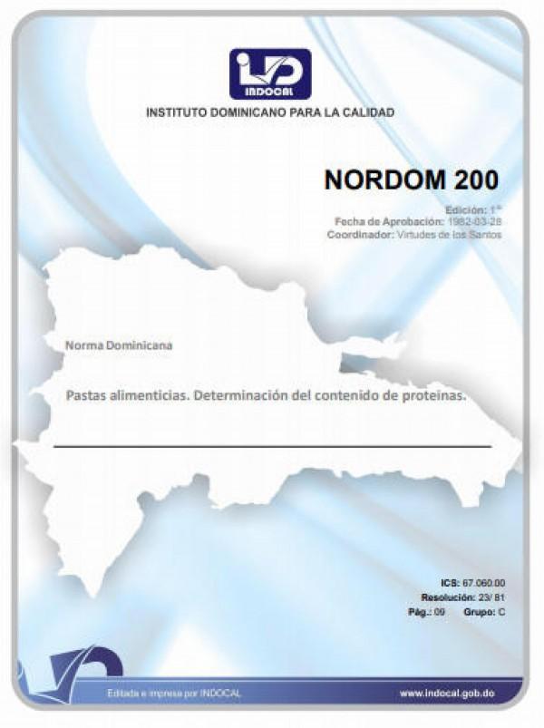 NORDOM 200 - PASTAS ALIMENTICIAS. DETERMINACIÓN DEL CONTENIDO DE PROTEÍNAS.