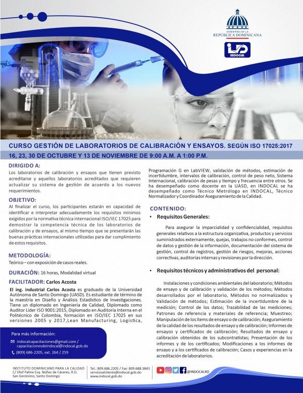 CGLCE - GESTIÓN DE LABORATORIOS DE CALIBRACIÓN Y ENSAYOS. SEGÚN ISO 17025:2017