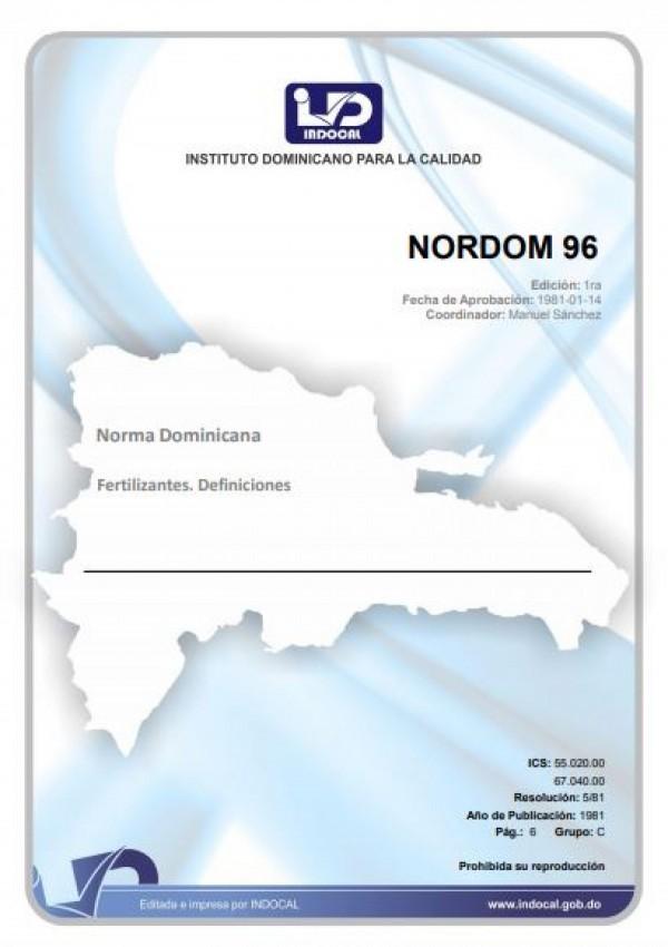 NORDOM 96- FERTILIZANTES. DEFINICIONES.