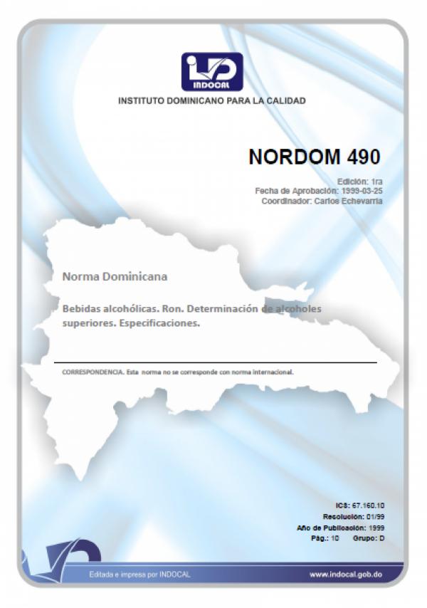 NORDOM 490 - BEBIDAS ALCOHOLICAS. RON. DETERMINACION DE ALCOHOLES SUPERIORES.