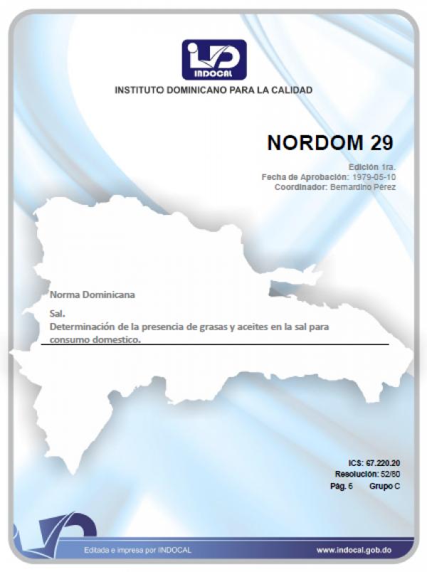 NORDOM 29 - SAL. DETERMINACION DE LA PRESENCIA DE GRASAS Y ACEITES EN LA SAL PARA CONSUMO DOMESTICO.