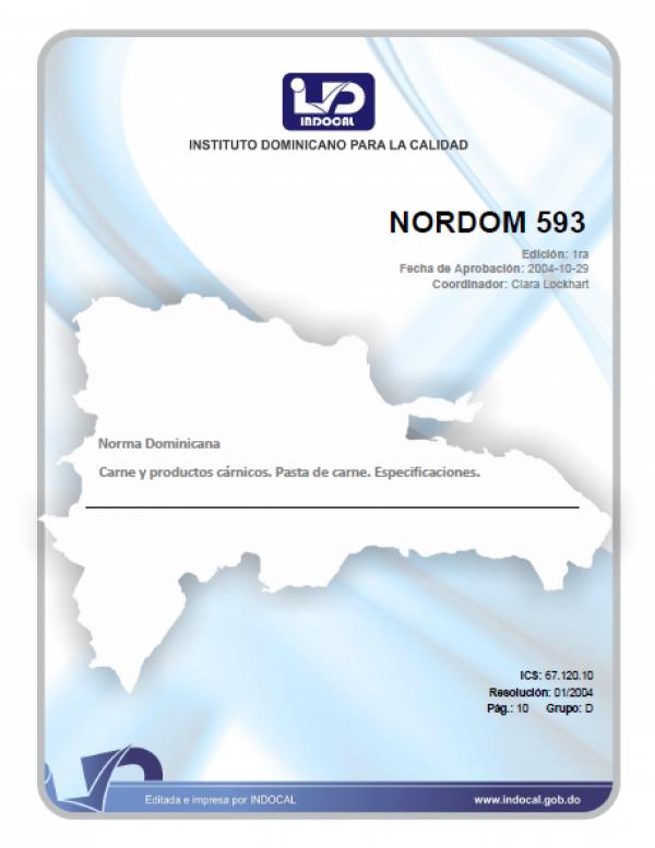 NORDOM 593- CARNE Y PRODUCTOS CARNICOS. PASTA DE CARNE. ESPECIFICACIONES