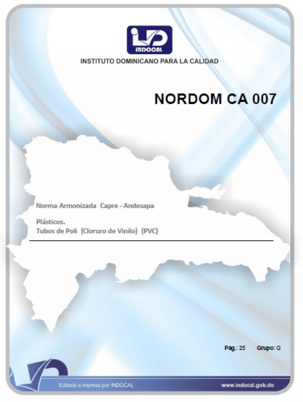 NORDOM CA 007 - NORMA ARMONIZADA CAPRE-ANDESAPA - PLÁSTICOS. TUBOS DE POLI (CLORURO DE VINILO) (PVC)