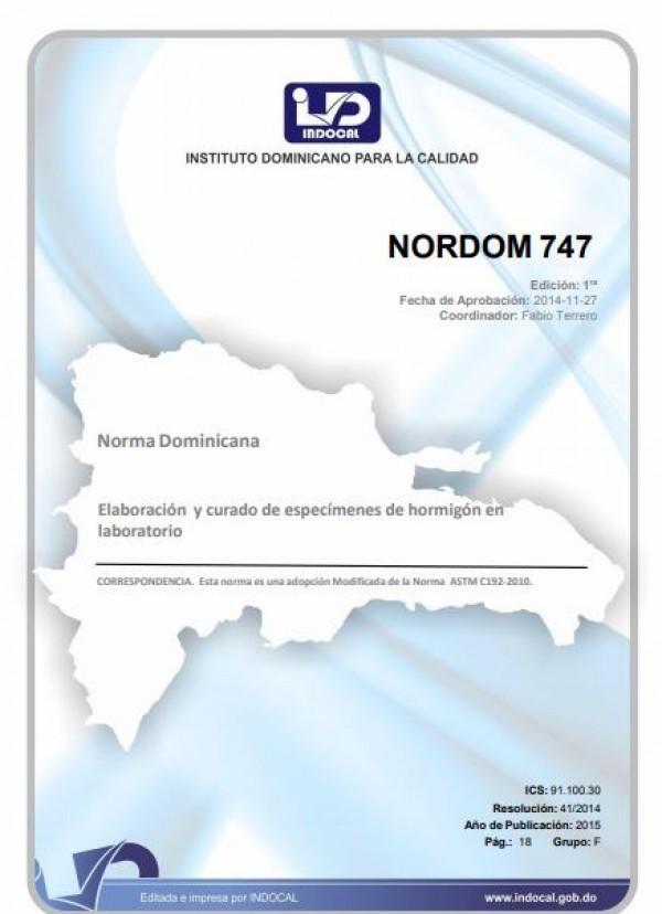 NORDOM 747 - ELABORACIÓN Y CURADO DE ESPECÍMENES DE HORMIGÓN EN LABORATORIO.