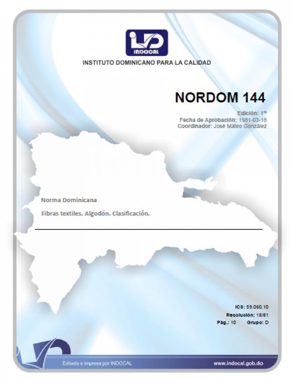 NORDOM 144 - FIBRAS TEXTILES. ALGODON. CLASIFICACION.