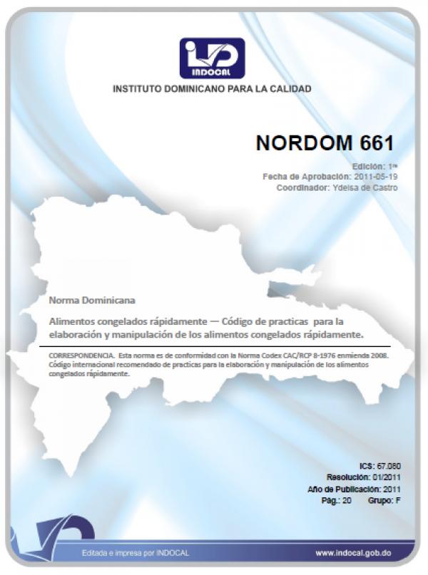 NORDOM 661- ALIMENTOS CONGELADOS RÁPIDAMENTE - CÓDIGO DE PRÁCTICAS PARA LA ELABORACIÓN Y MANIPULACIÓN DE LOS ALIMENTOS CONGELADOS RÁPIDAMENTE.