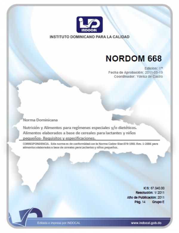 NORDOM 668 - ALIMENTOS ELABORADOS A BASE DE CEREALES PARA LACTANTES Y NIÑOS PEQUEÑOS - REQUISITOS Y ESPECIFICACIONES