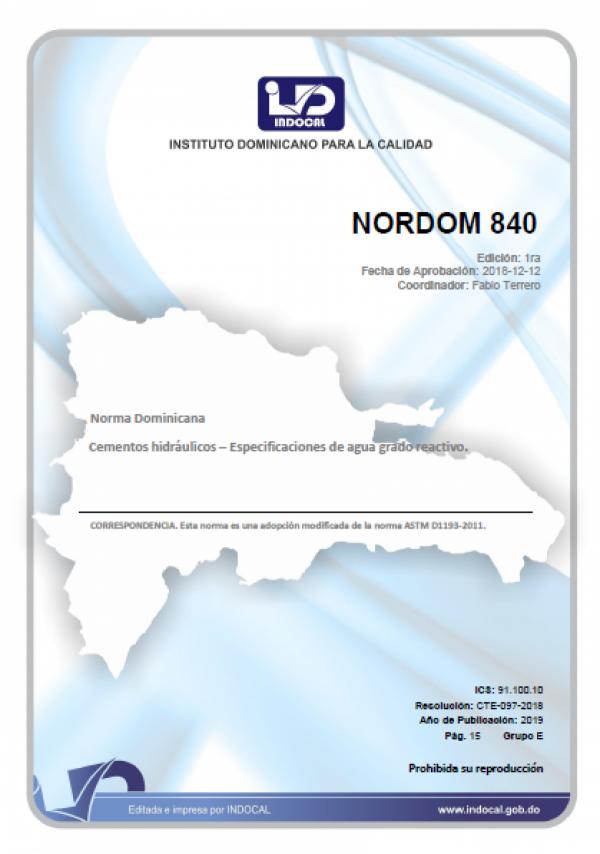 NORDOM 840- CEMENTOS HIDRÁULICOS - ESPECIFICACIONES DE AGUA GRADO REACTIVO.