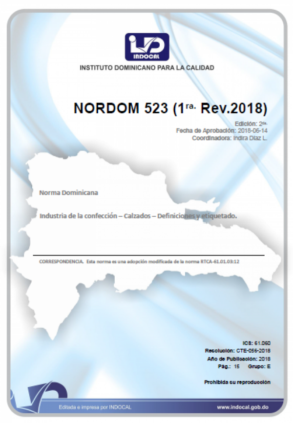 NORDOM 523 - INDUSTRIA DE LA CONFECCIÓN – CALZADOS – DEFINICIONES Y ETIQUETADO. (1RA. REV.2018)