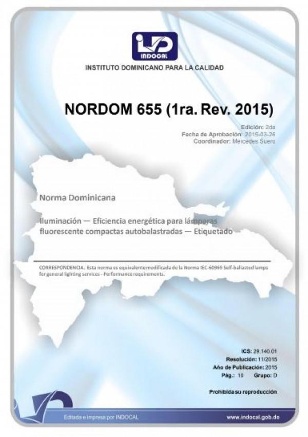 NORDOM 655 - ILUMINACIÓN - EFICIENCIA ENERGÉTICA PARA LÁMPARAS FLUORESCENTE COMPACTAS AUTOBALASTRADAS - ETIQUETADO