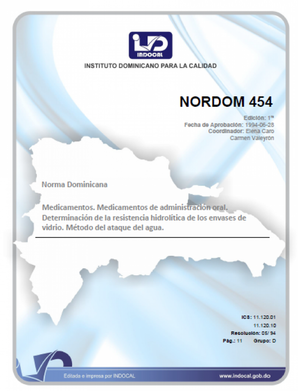 NORDOM 454 - MEDICAMENTOS. MEDICAMENTOS DE ADMINISTRACIÓN ORAL. DETERMINACIÓN DE LA RESISTENCIA HIDROLÍTICA DE LOS ENVASES DE VIDRIO. MÉTODO DEL ATAQUE DEL AGUA.