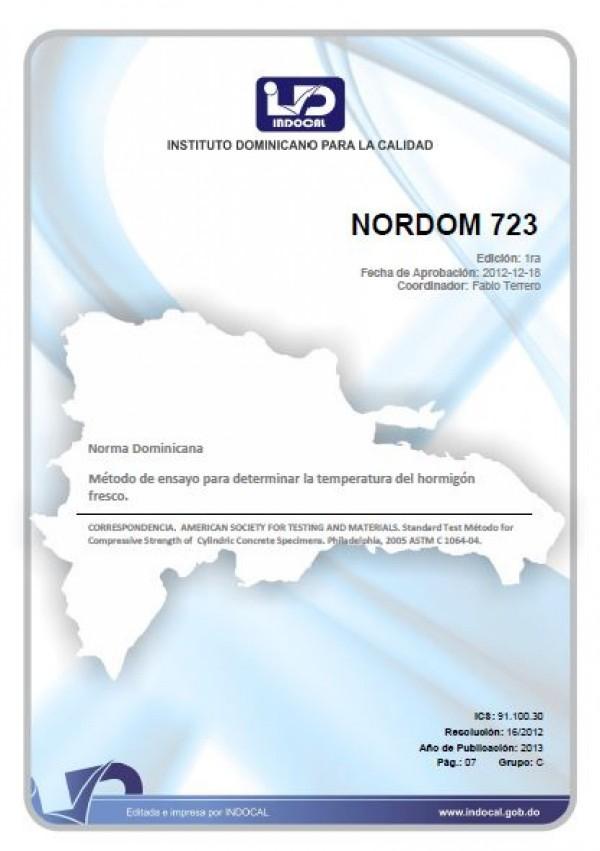 NORDOM 723 - MÉTODO DE ENSAYO PARA DETERMINAR LA TEMPERATURA DEL HORMIGÓN FRESCO.