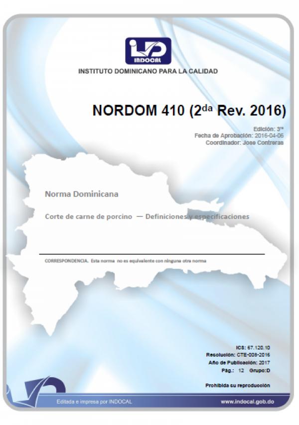 NORDOM 410- CORTE DE CARNE DE PORCINO.  DEFINICIONES Y ESPECIFICACIONES. (2DA. REV. 2016)