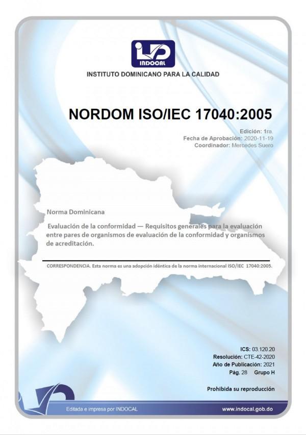 NORDOM ISO/IEC 17040:2005 - EVALUACIÓN DE LA  CONFORMIDAD - REQUISITOS GENERALES PARA LA EVALUACIÓN ENTRE PARES DE ORGANISMOS DE EVALUACIÓN DE LA CONFORMIDAD Y ORGANISMOS DE ACREDITACIÓN.