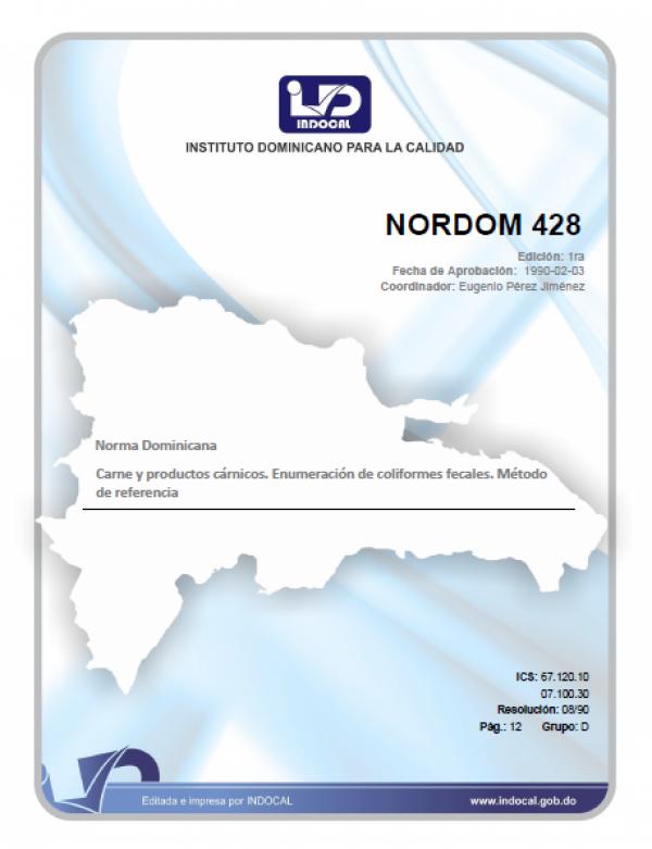 NORDOM 428- CARNES Y PRODUCTOS CARNICOS. ENUMERACION DE COLIFORMES FECALES. METODO DE REFERENCIA.