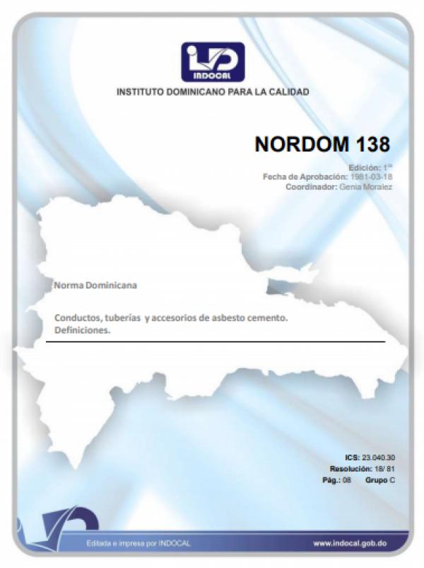 NORDOM 138 - CONDUCTOS, TUBERIAS Y ACCESORIOS DE ASBESTO CEMENTO. DEFINICIONES.