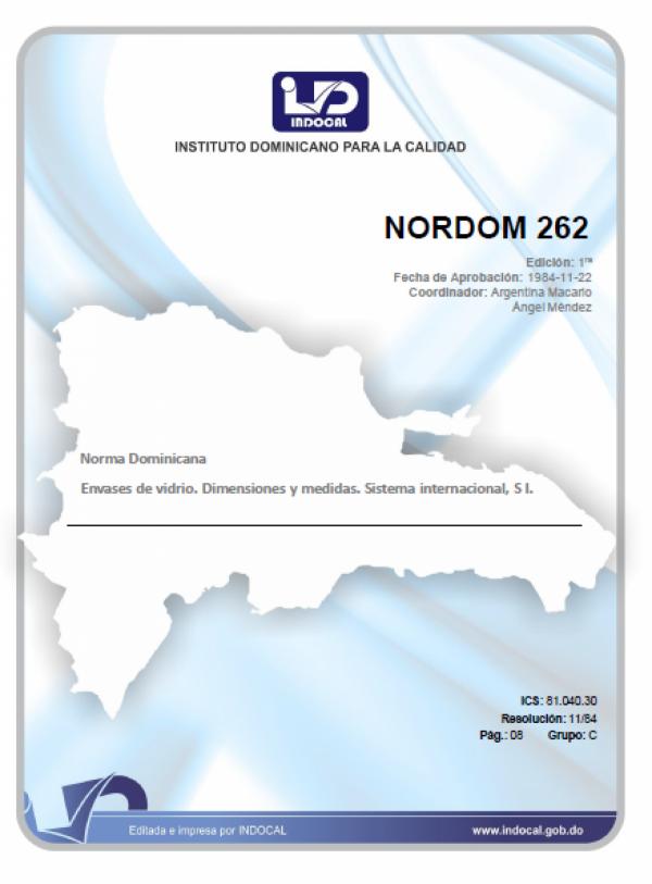 NORDOM 262- ENVASES DE VIDRIO. DIMENSIONES Y MEDIDAS. SISTEMA INTERNACIONAL, SI.